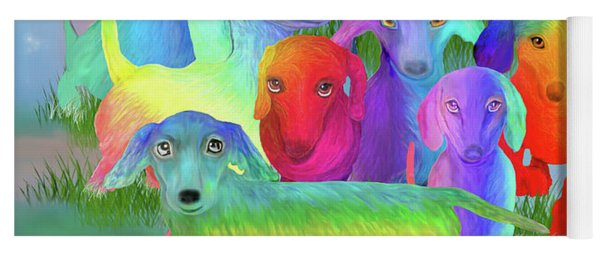 Yoga Mat featuring the mixed media Rainbow Dachshunds 1 by Carol Cavalaris
