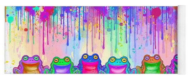 Rainbow Of Painted Frogs Yoga Mat
