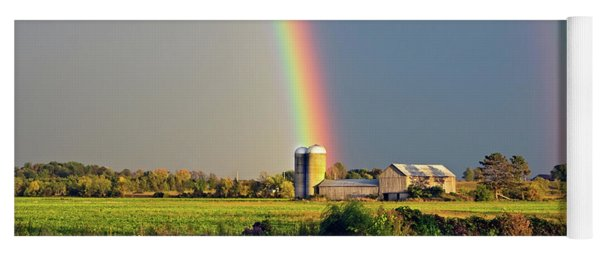 Rainbow Over Barn Silo Yoga Mat