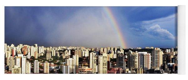 Rainbow Over City Skyline - Sao Paulo Yoga Mat