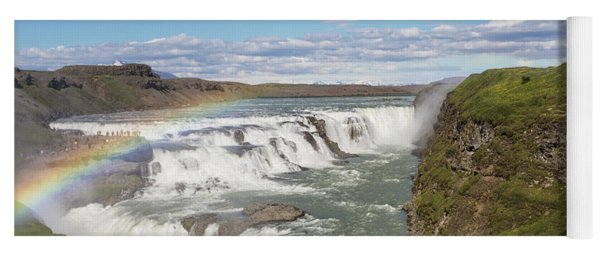 Rainbow Over The Gullfoss Waterfall In Iceland Yoga Mat
