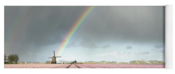 Rainbow Over Windmill And Flower Fields Yoga Mat