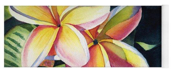 Rainbow Plumeria Yoga Mat