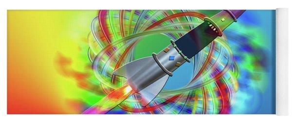 Rainbow Rocket Orbits Yoga Mat