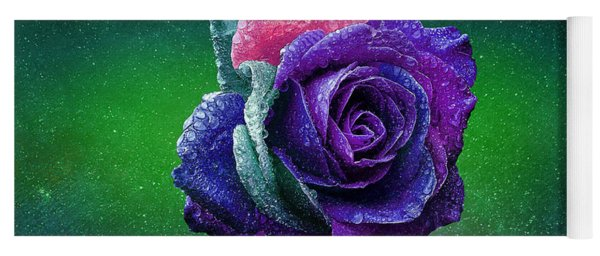 Yoga Mat featuring the photograph Rainbow Rose Among The Stars by Ericamaxine Price