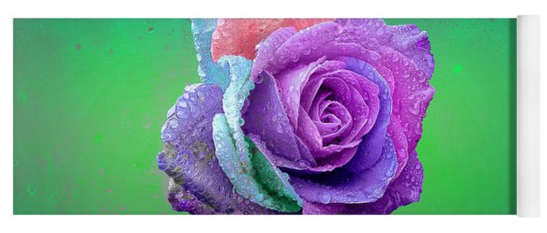 Yoga Mat featuring the photograph Rainbow Rose by Ericamaxine Price
