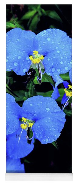 Raindrops In Blue Yoga Mat