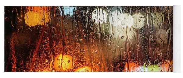 Raindrops On Street Window Yoga Mat