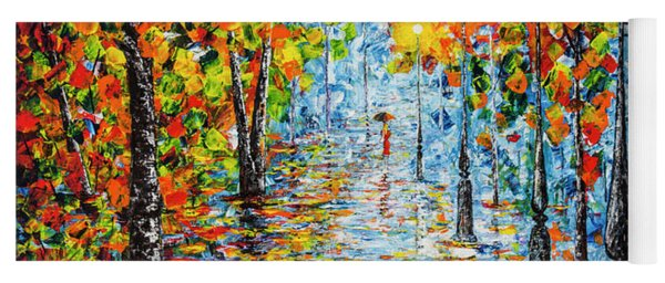 Yoga Mat featuring the painting Rainy Autumn Evening In The Park Acrylic Palette Knife Painting by Georgeta Blanaru