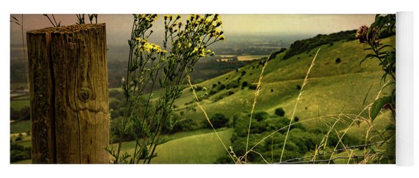 Rainy Day Hilltop View On The South Downs Yoga Mat