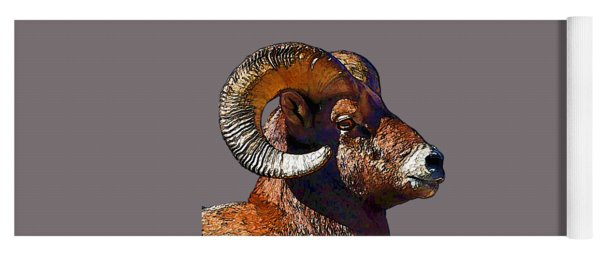 Ram Portrait - Rocky Mountain Bighorn Sheep By Olena Art Yoga Mat