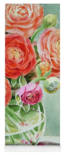 Ranunculus In The Glass Vase Yoga Mat