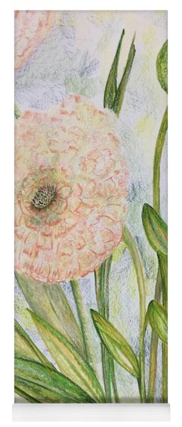 Yoga Mat featuring the drawing Ranunculus by Norma Duch