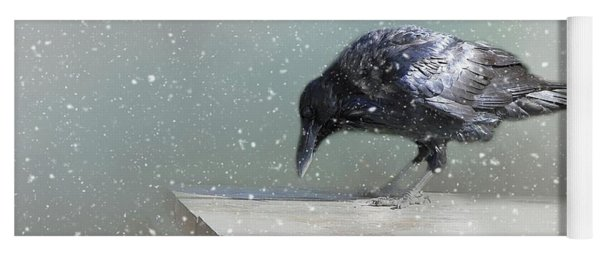 Raven In Winter Yoga Mat