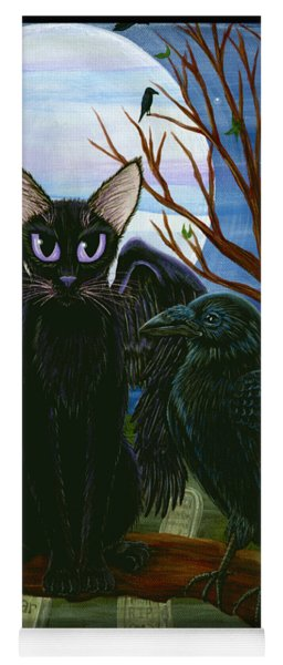 Raven's Moon Black Cat Crow Yoga Mat