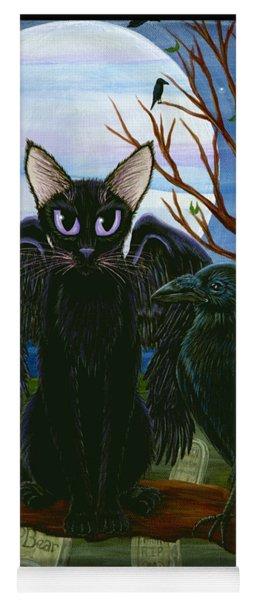 Raven's Moon Black Cat Crow Yoga Mat