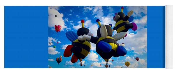 Hot Air Balloon Cheerleaders Yoga Mat