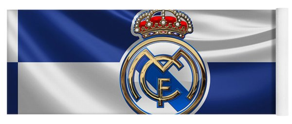 Real Madrid C F - 3 D Badge Over Flag Yoga Mat