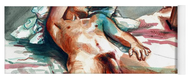 Yoga Mat featuring the painting Nude Reclined Male Figure by Rene Capone
