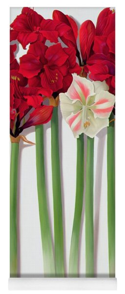 Red Amaryllis With Butterfly Yoga Mat