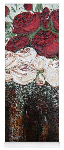 Red And Antique White Roses - Original Artwork Yoga Mat