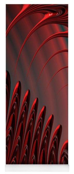 Red And Black Modern Fractal Design Yoga Mat