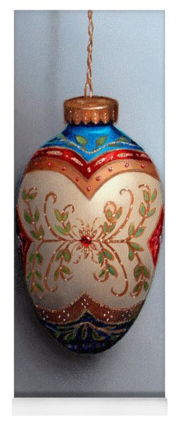 Red And Blue Filigree Egg Ornament Yoga Mat