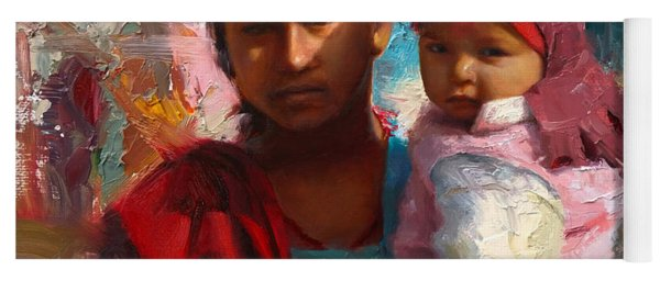Red And Blue Portrait Of Nepalese Mother And Child Yoga Mat
