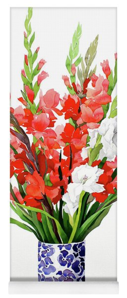 Red And White Gladioli Yoga Mat