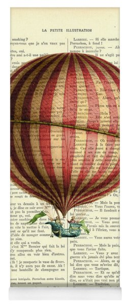 Red And White Striped Hot Air Balloon Antique Photo Yoga Mat