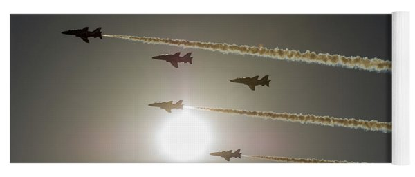 Yoga Mat featuring the photograph Red Arrows Backlit Arrival  by Gary Eason