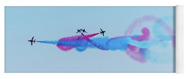 Yoga Mat featuring the photograph Red Arrows Break by Gary Eason