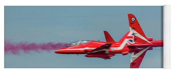 Yoga Mat featuring the photograph Red Arrows Crossover by Gary Eason