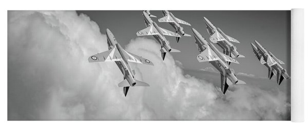 Yoga Mat featuring the photograph Red Arrows Sky High Bw Version by Gary Eason