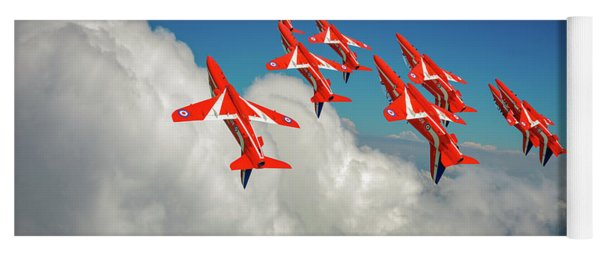 Yoga Mat featuring the photograph Red Arrows Sky High by Gary Eason