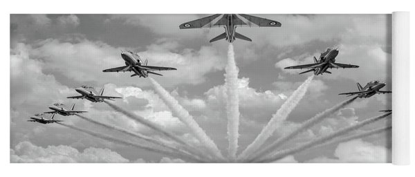 Yoga Mat featuring the photograph Red Arrows Smoke On Bw Version by Gary Eason