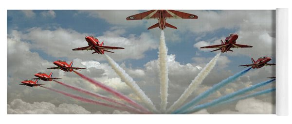 Yoga Mat featuring the photograph Red Arrows Smoke On  by Gary Eason