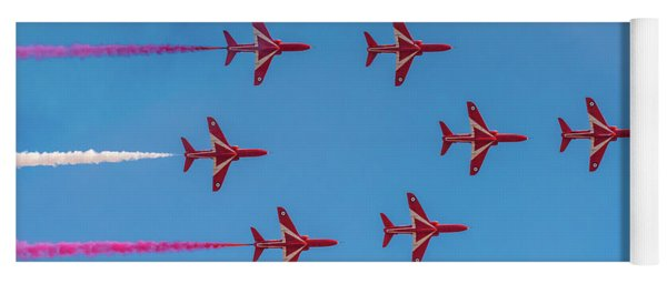 Yoga Mat featuring the photograph Red Arrows Typhoon Formation by Gary Eason