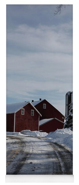 Red Barn In The Snow Yoga Mat