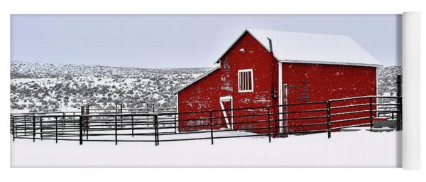 Red Barn In Winter Yoga Mat