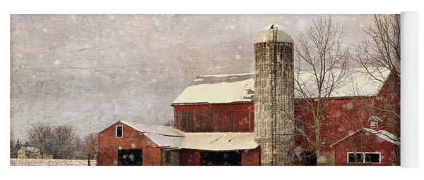 Red Barn In Winter Yoga Mat