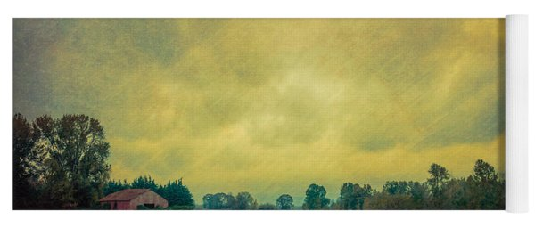 Red Barn Under Stormy Skies Yoga Mat
