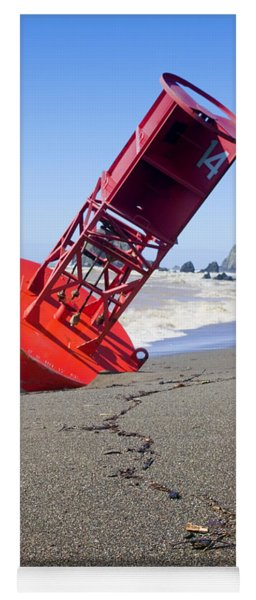 Red Bell Buoy On Beach With Bottle Yoga Mat