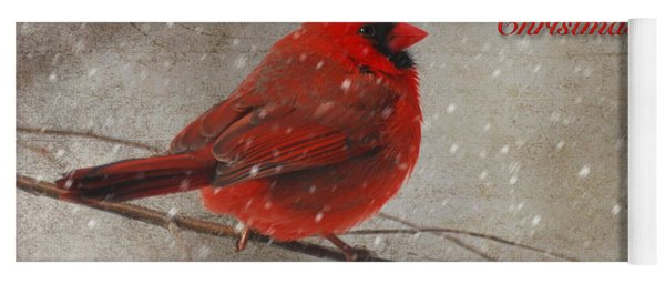 Red Bird In Snow Christmas Card Yoga Mat