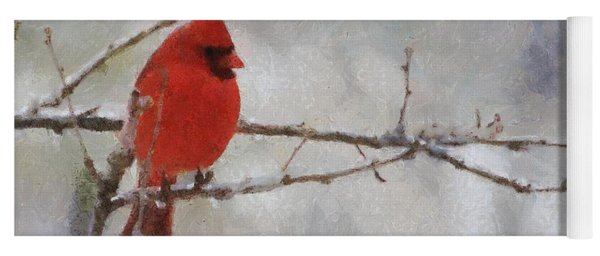 Red Bird Of Winter Yoga Mat