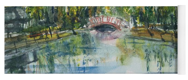 Yoga Mat featuring the painting Red Bridge On Lake In The Ozarks by Reed Novotny