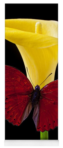 Red Butterfly And Calla Lily Yoga Mat