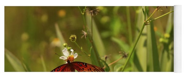 Red Butterfly In Daisy Field Yoga Mat