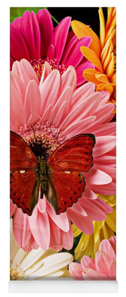 Red Butterfly On Bunch Of Flowers Yoga Mat
