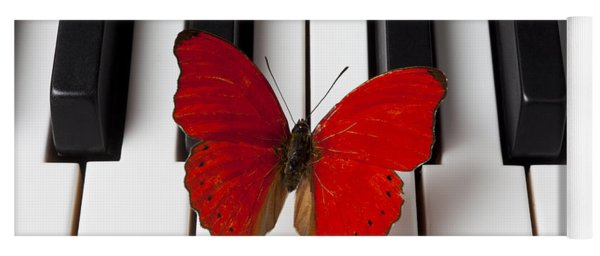 Red Butterfly On Piano Keys Yoga Mat